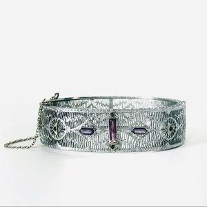 Antique Georgian Filigree Amethyst Hinged Bracelet